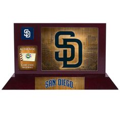 San Diego Padres Fanatics Authentic Framed Team Logo Desktop Display With A Piece Of Game Used Baseball - $39.99