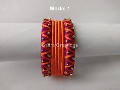Items similar to Silk Thread Bangles on Etsy Silk Thread Bangles Design, Silk Thread Necklace, Silk Bangles, Thread Bracelets, Thread Jewellery, Fabric Jewelry, Bangles Making, Silk Art, Thread Art