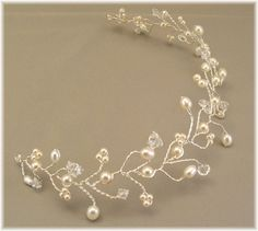 Ivory Wedding Gown Tiara Hair Vine Tiaras Ivory Pearl by Handwired, $58.00