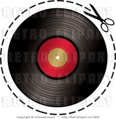 Royalty Free Retro Pair Of Scissors Cutting Around A Vinyl Record By wallpaper