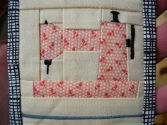 Sewing machine free paper-piecing pattern for download. Detail for needle, thread, and hand wheel are embroidered. Pattern is very small, but can be enlarged.
