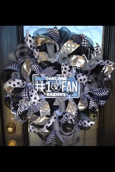 Oakland Raiders Wreath by SassyWreathsByViri on Etsy, $75.00