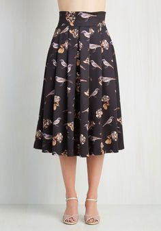 Flight to be Seen Skirt. Your nexus with nature is ever so evident when you flaunt this fabulous full skirt! #black #modcloth
