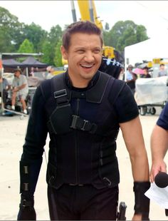 Jeremy Renner - Behind the Scenes of Captain America Civil War - Hawkeye - Visit to grab an amazing super hero shirt now on sale!