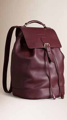 Mahogany red Grainy Leather Backpack - Image 3