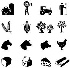 Farmer at work black and white vector icon set vector art illustration