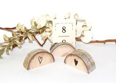 Wood Place Card Holders, Reclaimed Aspen, Rustic Wedding Name Card Holder, Outdoor Mountain Woodland Shabby Chic, Western, Rustic via Etsy