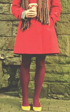 i really want a red or coral coat for fall. and apparently burgundy tights.