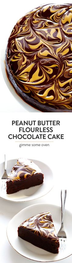 Peanut Butter Flourless Chocolate Cake -- made with just 5 easy ingredients, and so rich and delicious! | gimmesomeoven.com #cake #chocolate #peanutbutter #glutenfree #flourless #dessert