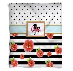 Horse Throw Blanket with Black and White Stripes and a touch of Floral Print with Navy Blue Polka Dots. and Pink Personalization!