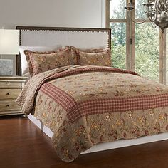 3-Piece 100% Cotton Printed Red Check Quilt Set – USD $ 59.99