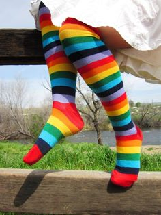 Every little girl should have rainbow knee socks. <3