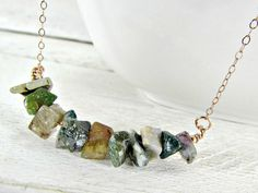Indian Agate Necklace, Green Stone Chip Necklace, Semi-Precious Gemstone Bar Necklace, Rose Gold Filled Chain, Natural Boho Bohemian Jewelry by RedGarnetStudio