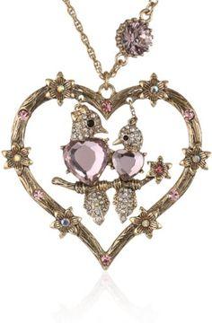 "Betsey Johnson ""Iconic Love Bird"" Love Bird Heart Long Pendant Necklace"