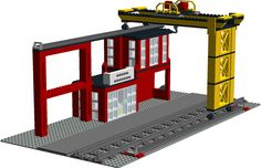 This model was heavily inspired by set 4555 (Cargo Station) from 1995 and by set 60052 (Cargo Train) from 2014. The gantry and the crane itself slide back and forth to provide for truck to train (or train to truck) movement of shipping containers or raw materials by themselves. Unfortunately, the LDD program doesn't allow for it too move, but it will in real life. This model is missing one crucial part: the cable for the crane. (That's this part…
