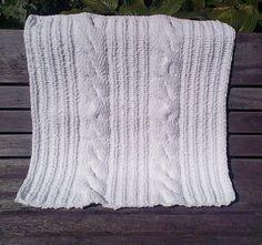 white chunky baby stroller blanket chenille by UniqueKnitDesign