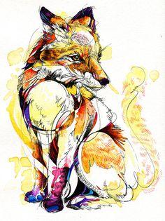 Fox Flow 8.5x11 Fine Art Print by AbbyDiamondDraws on Etsy