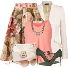 Floral Skirt & Suede Pumps