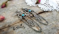 Orecchini chandelier pendenti argento azzurro mano fatima argento 925 , by Evangela Fairy Jewelry, 8,00 € su misshobby.com