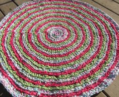 Crochet rag rug made from old sheets