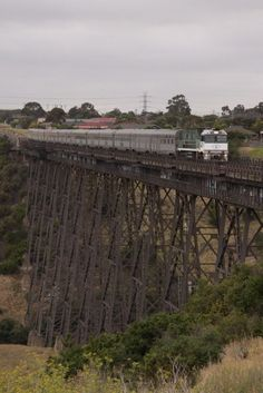 The Southern Spirit crosses the Maribyrnong River Viaduct