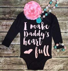 I Make Daddy's Heart Full Onesie Baby Girl Daddy's by BellaPiccoli