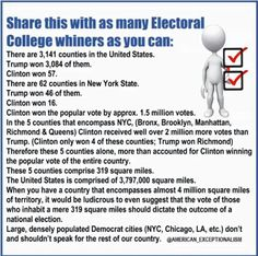 Reasoning for the existence of the Electoral College. Part if the checks and balances that keep our government at bay.