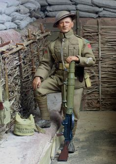 """Lewis Gunner, Duke of Wellington's Regiment, 4th Div.1918. The Lewis Gun was the first succesful Light Machine Gun : though """"light"""" was a relative term. It's adoption in 1915 transformed squad tactics : in fact might be said to have invented the modern Infantry squad , normally around ten men , including a Light Machine gun. Oddly enough , the despite being an American-designed weapon , the US forces never adopted it , but the British seized on it with relish, and it was manufactured to use…"""