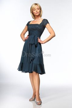 Knee-length A-line Mother of the Bride Dress with Square Neckline and Capped Sleeves