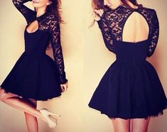 Black Patchwork Pleated Hollow-out Backless Lace Dress - Mini Dresses - Dresses