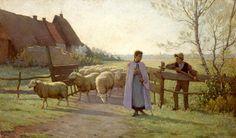 Henri LE SIDANER The Back of the herd,Etaples1889 (La Rentrée du troupeau…