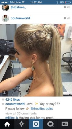Straight ponytail with braid                                                                                                                                                                                 Mais
