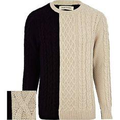 Ecru colour block cable knit jumper £38.00