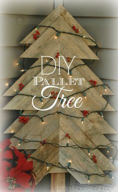 *With directions* - Learn how to make this beautiful DIY large rustic pallet Christmas tree to add to your outdoor Christmas decorations this holiday season. An elegant way to bring some rustic charm to your outdoor holiday decor. Pallet Tree, Pallet Christmas Tree, Rustic Christmas, Winter Christmas, All Things Christmas, Christmas Holidays, Christmas Decorations, Christmas Ornaments, Diy Pallet
