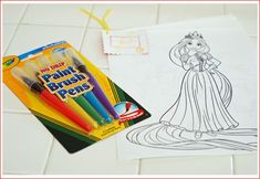 Party favors for tangled party... She liked to paint in movie... Coloring book pages with paint brush markers