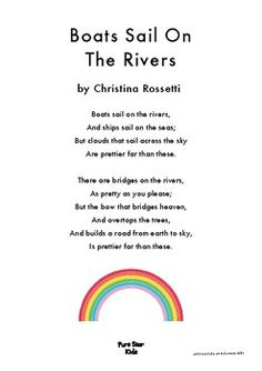 Boats Sail On The River (The Rainbow) - A poem. by Pure Star Kids River Poem, Rainbow Poem, Christina Rossetti, Poetry For Kids, Kids Poems, Words To Use, Kids Learning, Wallpaper Keren, 3d Wallpaper