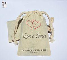 Personalized Cotton Muslin Party Favor Bag - Wedding, Bachelorette, Bridal Shower Favor Bag - Interlooking hearts Favor Bags - Love is sweet wedding - Wedding favors (*Amazon Partner-Link)