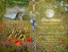 "Book of Shadows Moon: ""August: Holly Moon,"" by Angie Latham. It makes a lovely Moon page for a Book of Shadows. Corn Moon, Tarot, Moon Magic, Sabbats, Practical Magic, Harvest Moon, Book Of Shadows, Occult, Full Moon"