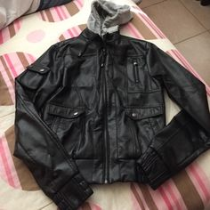 Faux leather hooded jacket Size Medium. Can also fit a small. No flaws i can spot. Not from listed brand. ASOS Jackets & Coats
