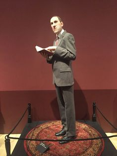 """Thomas Kuebler's hyperreal sculpture of H.P. Lovecraft stands in the """"Magic, Alchemy and the Occult"""" section of """"Guillermo del Toro: At…"""