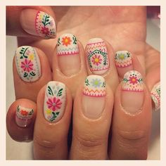 This Awesome Floral Nails Design Ideas 4 image is part from 30 Best Inspirations Floral Nail Art Design gallery and article, click read it bellow to see high resolutions quality image and another awesome image ideas. Fabulous Nails, Gorgeous Nails, Pretty Nails, Spring Nails, Summer Nails, Spring Nail Art, Autumn Nails, Mexican Nails, Diy Nagellack