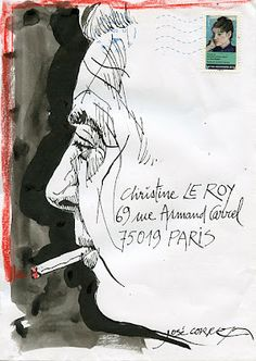 not really an art journal or sketch, but it is a nice use of negative space, and the lines are wonderful. Mailart call Doisneau-Prévert