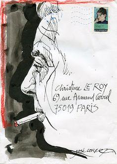 title unknown ~ mail art ~ by doisneau-prévert Sketches, Sketch Book, Drawing Illustrations, Postcard Art, Snail Mail Art, Letter Art, Mail Art Envelopes, Art Journal, Paper Art