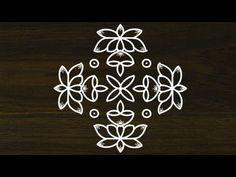 beautiful lotus flower rangoli with vilakku design Rangoli Side Designs, Simple Rangoli Border Designs, Rangoli Designs Latest, Rangoli Patterns, Free Hand Rangoli Design, Small Rangoli Design, Rangoli Designs Diwali, Rangoli Designs With Dots, Beautiful Rangoli Designs