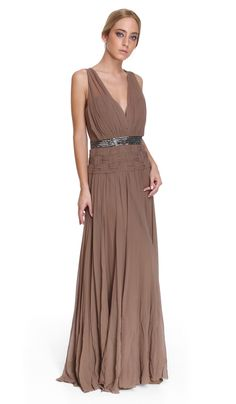 Vestido Longo Castanho - Aluguer de vestidos Nicole Miller - Frente