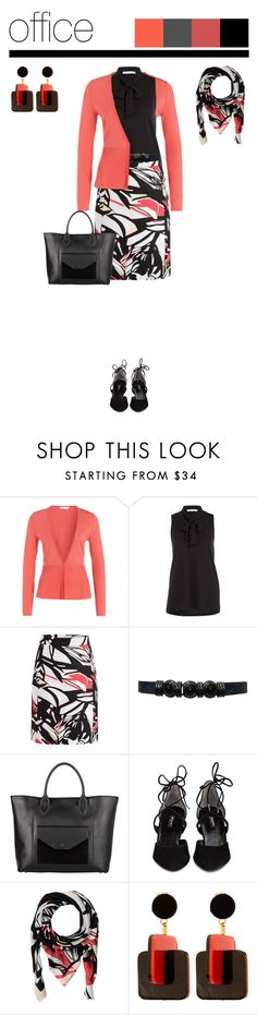 """""""Office outfit: Black - Coral - Floral"""" by downtownblues ❤ liked on Polyvore featuring Paul Green, Marni, floral, cardigan, pencilskirt, officewear and floralskirt"""