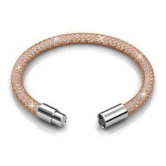 Copper Crystal Mesh Wrap Bracelet