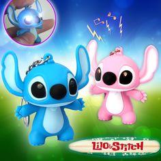 Lilo stitch LED llavero linterna con el sonido lindo llaveros regalo música llavero sonido llaveros envío gratis MHK002