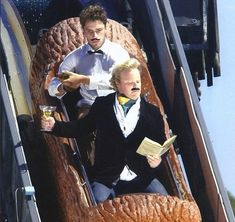 These ingenious theme park goers were determined to make the most of their theme park ride photos with hilarious props and outfits. This debonair log flume rider is enjoying a tipple thanks to his helpful waiter