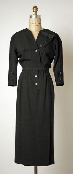 Ensemble, House of Dior, Designer Christian Dior, 1947, French, wool and silk